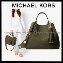 Michael Kors BROOKLYN A4 Plain Leather Office Style Totes