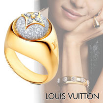 Louis Vuitton Blended Fabrics Flower 18K Gold With Jewels Elegant Style