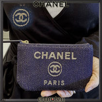 CHANEL DEAUVILLE Unisex Canvas Plain Pouches & Cosmetic Bags