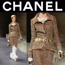 CHANEL Other Check Patterns Tweed Plain Medium Handmade Fringes