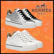 HERMES Platform Plain Toe Casual Style Bi-color Leather Logo
