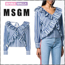 MSGM Stripes Long Sleeves Cotton Medium Elegant Style