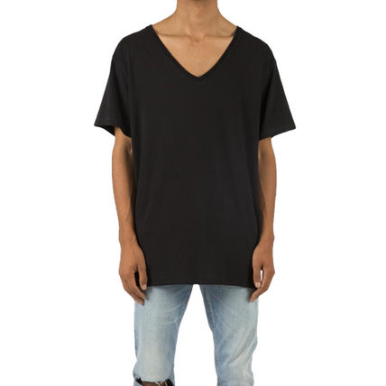 MNML V-Neck Plain Cotton Short Sleeves Street Style