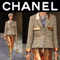 CHANEL Other Check Patterns Tweed Street Style Medium Handmade