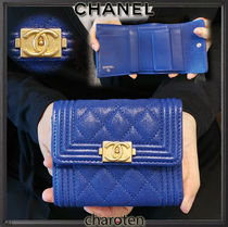CHANEL BOY CHANEL Unisex Calfskin Plain Folding Wallets