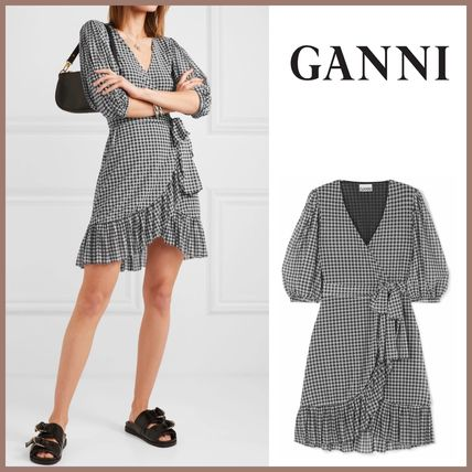 Wrap Dresses Short Gingham V-Neck Short Sleeves Dresses