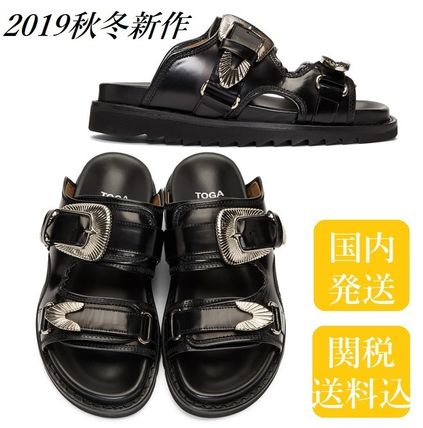 Open Toe Platform Casual Style Plain Leather