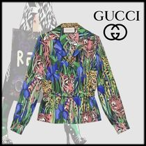 GUCCI Leopard Patterns Silk Long Sleeves Other Animal Patterns