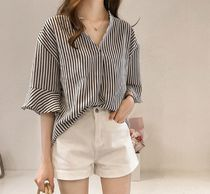 Lace-up Casual Style Cropped Plain Cotton Medium