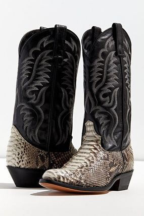 Street Style Leather Python Boots