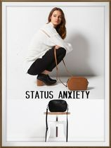 STATUS ANXIETY Plain Leather Elegant Style Shoulder Bags