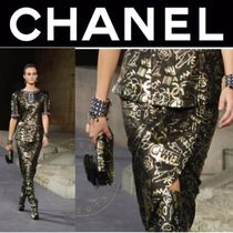 CHANEL ICON Pencil Skirts Flower Patterns Street Style Leather Medium