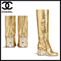 CHANEL Plain Leather Block Heels Elegant Style Over-the-Knee Boots