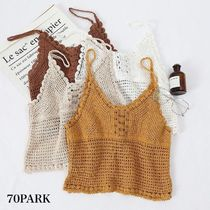 Short Casual Style Street Style Plain Cotton Cropped