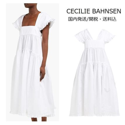 A-line Plain Cotton Medium Dresses
