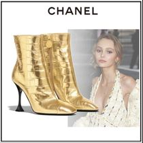 CHANEL Plain Toe Blended Fabrics Other Animal Patterns Pin Heels