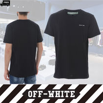 Off-White Crew Neck Pullovers Cotton Short Sleeves Handmade