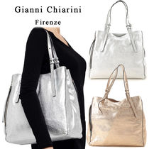 GIANNI CHIARINI Casual Style A4 2WAY Plain Leather Totes