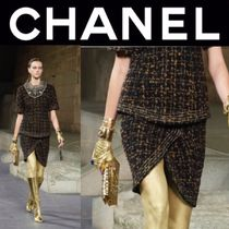 CHANEL ICON Pencil Skirts Other Check Patterns Tweed Street Style Medium