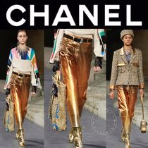 CHANEL ICON Blended Fabrics Street Style Plain Leather Long