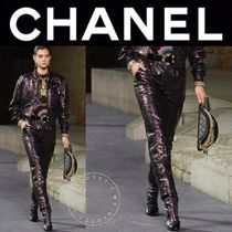 CHANEL ICON Flower Patterns Monogram Blended Fabrics Street Style