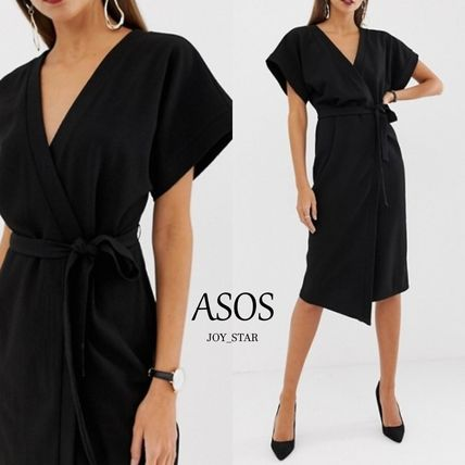 Wrap Dresses V-Neck Plain Medium Short Sleeves Party Style
