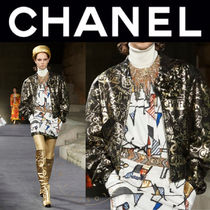 CHANEL Short Street Style Leather Handmade MA-1 Bomber Jackets