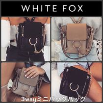 WHITE FOX Casual Style Tassel 3WAY Chain Plain Backpacks