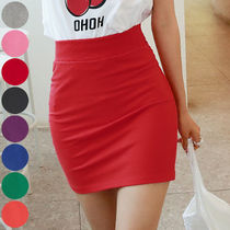 Pencil Skirts Short Casual Style Street Style Plain Cotton