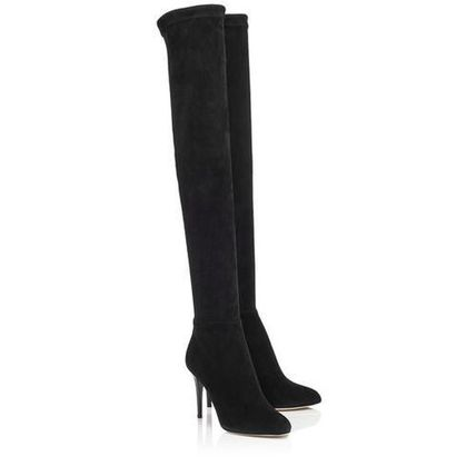 Jimmy Choo Suede Plain Pin Heels Elegant Style Over-the-Knee Boots
