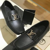 Louis Vuitton TAIGA Plain Toe Moccasin Blended Fabrics Plain Leather
