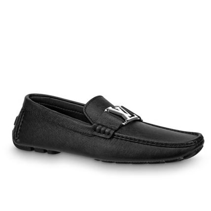 Louis Vuitton Loafers & Slip-ons Plain Toe Moccasin Blended Fabrics Plain Leather 3