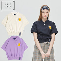 ROMANTIC CROWN Casual Style Cotton Medium Short Sleeves Polo Shirts