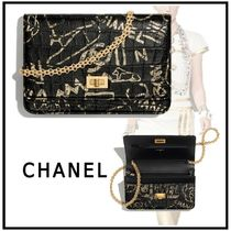 CHANEL 2019-20AW 2.55 CHAIN WALLET black & gold wallets