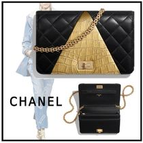 CHANEL 2019-20AW CHAIN WALLET black & gold wallets