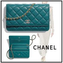 CHANEL 2019-20AW CHAIN WALLET turquoise wallets