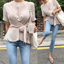 Casual Style Puffed Sleeves Plain Medium Shirts & Blouses