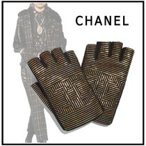 CHANEL 2019-20AW GLOVES dark gold & black gloves
