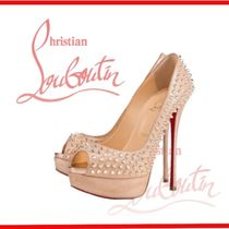 Christian Louboutin Open Toe Suede Studded Pin Heels Stiletto Pumps & Mules