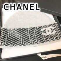CHANEL 2019-20AW KNIT CAP gray & black kint cap