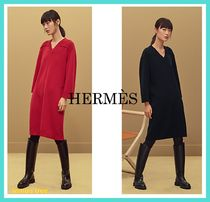 HERMES Cashmere V-Neck Long Sleeves Plain Medium Elegant Style