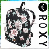ROXY Flower Patterns Tropical Patterns Casual Style A4 Backpacks