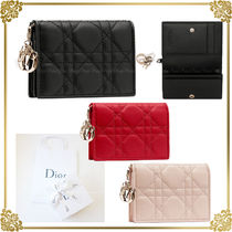 Christian Dior LADY DIOR Plain Leather Card Holders