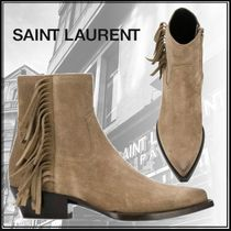 Saint Laurent Casual Style Suede Plain Block Heels Fringes