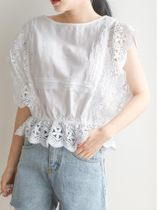Lace-up Casual Style Blended Fabrics Plain Lace