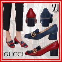 GUCCI GG Marmont Plain Leather Block Heels Party Style