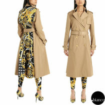 VERSACE Flower Patterns Tweed Blended Fabrics Street Style Medium