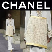 CHANEL ICON Pencil Skirts Short Other Check Patterns Tweed Street Style
