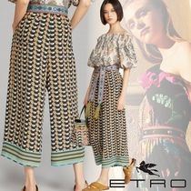 ETRO Stripes Silk Long Elegant Style Culottes