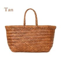 Dragon Diffusion Plain Leather Straw Bags